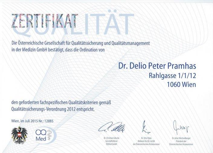 Qualitaetszertifikat-2015 Orthopäde Wien